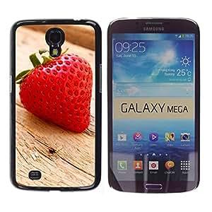 TopCaseStore / la caja del caucho duro de la cubierta de protección de la piel - Fruit Macro Wood Strawberry - Samsung Galaxy Mega 6.3 I9200 SGH-i527