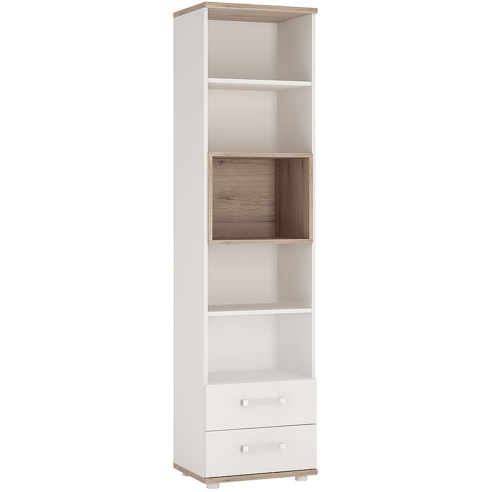 Furniture To Go 4KIDS Tall 2 Drawer Bookcase Light Oak and White High Gloss with opalino Handles, 480x402x1908 cm Wojcik 4051139