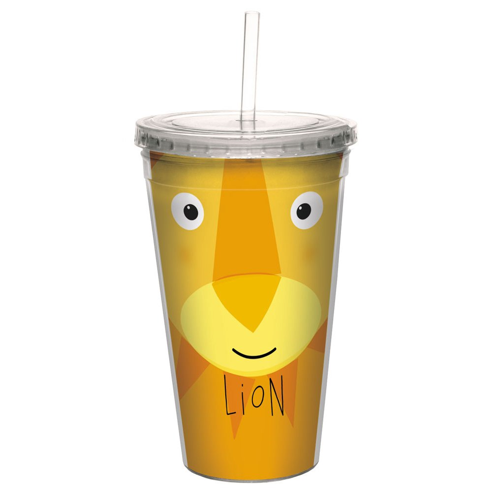16 Ounce Tree-Free Greetings CC99024 Lion Animoji Double-Walled Acrylic Cool Cup with Reusable Straw