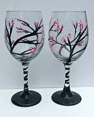 (Pink Cherry Blossom Tree Branches Set of 2 Stemmed Wine Glasses)