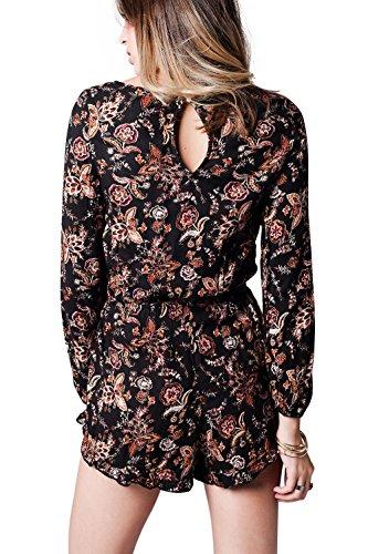 Q2 Femme Combishort à manches longues et imprimé floral hivernal