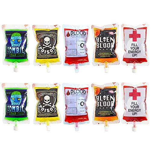 megrocle 10 Pack Novelty Blood Bags Drink Container, Reusable Food Grade 5 Patterns 8.5OZ Bags Halloween Party Cups for Theme Parties, Zombie, Vampire Party Favors]()