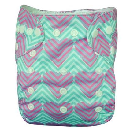 Alva bebé AI2 impresión digital reutilizable lavable bolsillo pañales de tela pañal + 2 Inserciones YA38