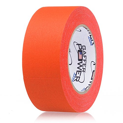 Real Professional Grade Gaffer Tape by Gaffer Power - Made in The USA - Orange Fluorescent 2 in X 30 Yds UV Blacklight Reactive Fluorescent - Heavy Duty Gaffers Tape -