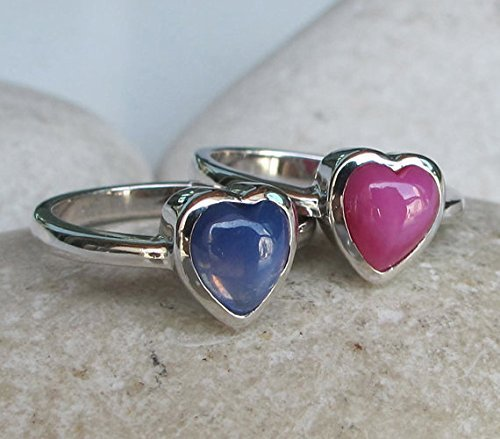 Stackable Heart Ring- Heart Shape Ring Set- Valentine Ring Set- Spring Colorful Ring- Blue Pink Ring Set- Star Sapphire Ring (Sapphire Ring Star Pink)
