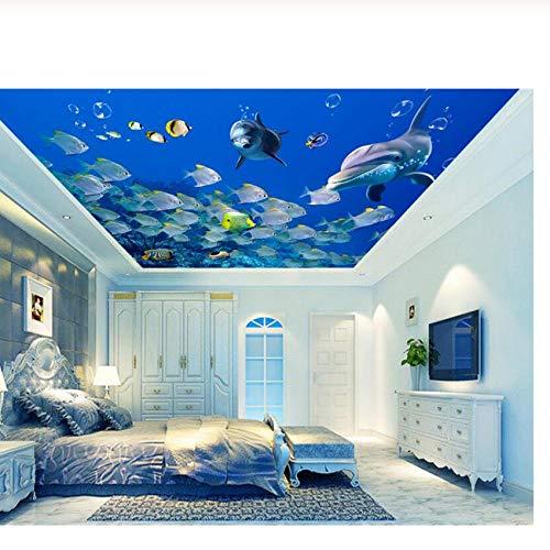 Pbldb Underwater World Marine Classic Fashion Personality Decorative Painting Wallpaper Cute Marine Fish Dolphin 3D Ceiling Murals-120X100Cm