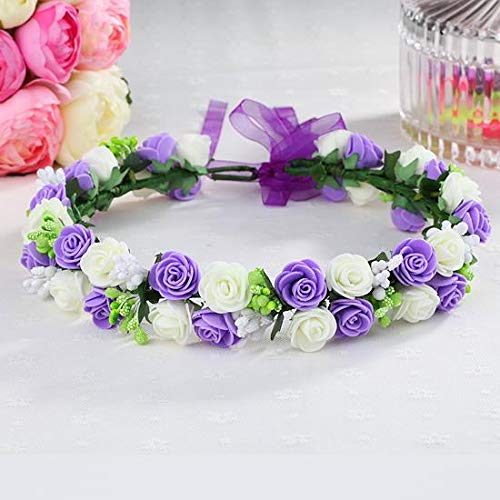 - OLIJU xiaoqing Sandy Beach Flower Garland Hair Styling Accessories Small Pretty Seaside Resort Ribbon Ring Hoop (Emerald Green Fly (Purple + White) Rosette