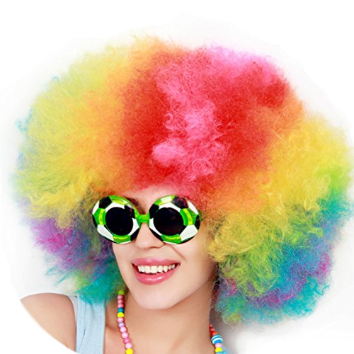 Tinksky Rainbow Clown Wig Short Afro Wig Costume Wig (Colorful)]()