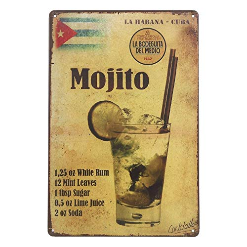 New Tin Sign Mojito La Habana-Cuba Drink Retro Vintage Metal Tin Signs for Outside & Inside 12 x 8 inch