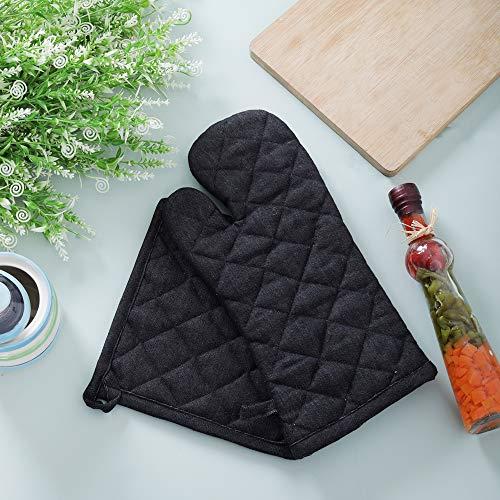 Denim Oven Mitt & Pot Holder Set, Pack of 2, 100% Cotton, Denim Black, Advanced Heat Resistant Oven Mitt, Non-Slip Textured Grip Pot Holders by KRAFTS