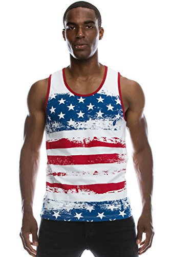Mens Hipster Hip Hop American Flag And Small Pattern Printed Tank Top - American Flag Tank Tops