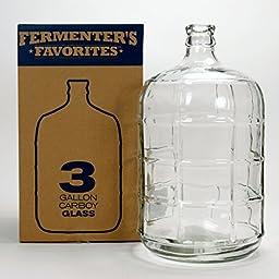 Fermenter\'s Favorites 3 Gallon Glass Carboy Fermenter for Home Brewing Beer, Wine Making, Hard Cider fermentation