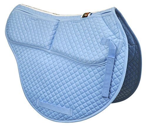ECP Cotton Correction All Purpose Contoured Saddle Pad - Memory Foam Pockets Light Blue