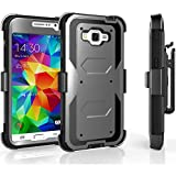 Core Prime Case, Tekcoo [TShell Series] [Ash Grey] Shock Absorbing [Built-in Screen] Holster Locking Belt Clip Defender Heavy Duty Case Cover Shell for Samsung Galaxy Core Prime/Prevail LTE
