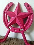 HOT PINK STAR AND HORSESHOE DOUBLE HOOK – GIRLS WESTERN HOME DECOR – DECORATIVE AND FUNCTIONAL