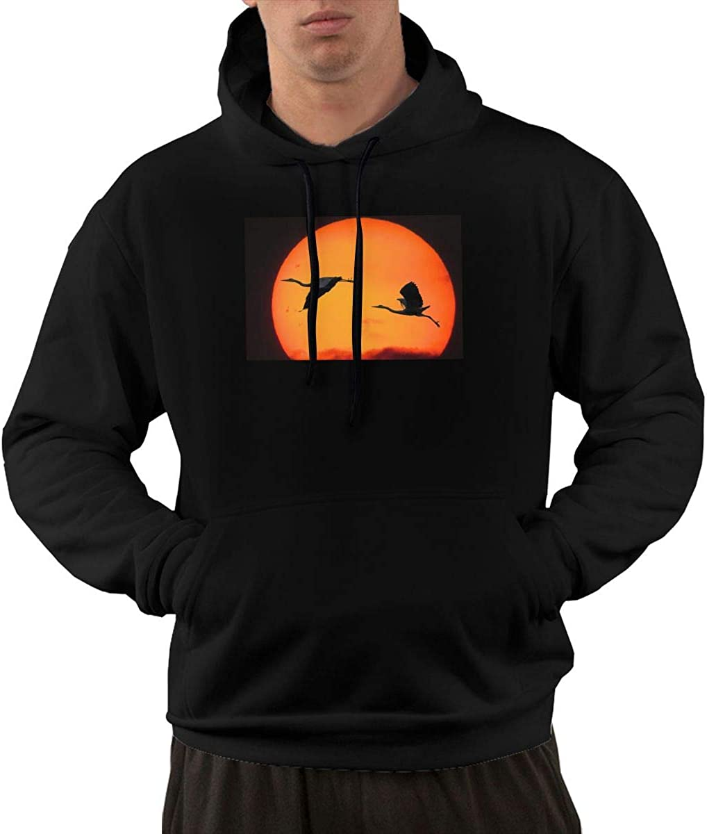 Nature Men Printed Pullover Long Sleeve Hooded Black Sweatshirts with Pockets