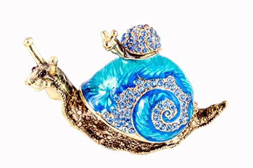 Snail with Baby Snail Trinket Box, Aqua Swarovski Crystal, Hand Painted Blue Enamel Over Pewter, Inside Of Box with Lovely Enamel, L 3.50 x H 2.00 x W 1.50