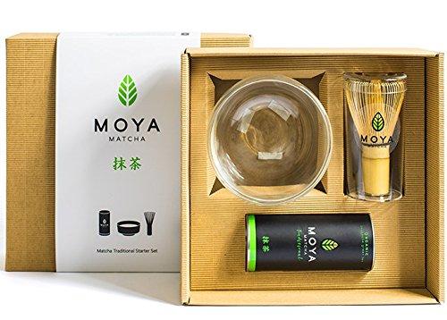 MOYA Set té Matcha Kit Básico. Pack Grado II Premium + Chasen + Chawan cristal Doble pared