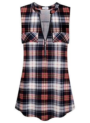 (Bulotus Women's V-Neck Casual Tunic Tank Tops Zipper Sleeveless Blouse Shirt)