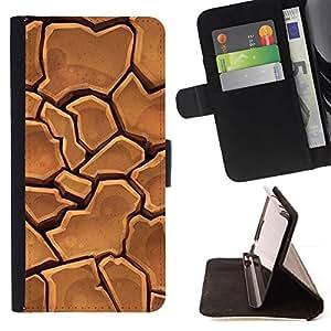 Dry Desert Cracked Drought Ground - Modelo colorido cuero de la carpeta del tirón del caso cubierta piel Holster Funda protecció Para Apple iPhone 5 / iPhone 5S