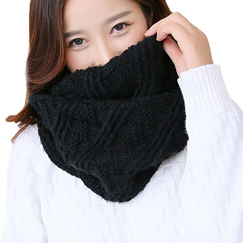 Kimloog Womens Reversible Thick Ribbed Knit Warm Neck Scarf Circle Infinity Loop Scarves (Black) (Poncho Ribbed)