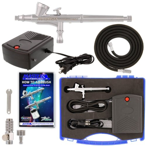 Master Airbrush Airbrushing System Kit with a G34 Multi-Purpose Gravity Feed Dual-Action Airbrush with 1/16oz. Cup and 0.3mm Tip