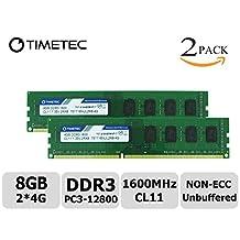 Timetec Hynix IC 8GB Kit (2x4GB) DDR3 1600MHz PC3-12800 Non ECC Unbuffered 1.35V/1.5V CL11 1Rx8 Single Rank 240 Pin UDIMM Desktop PC Computer Memory Ram Module Upgrade (8GB Kit (2x4GB))
