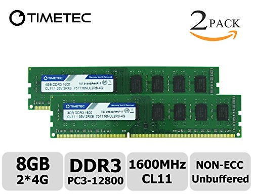 Timetec Hynix IC 8GB Kit (2x4GB) DDR3 1600MHz PC3-12800 Non ECC Unbuffered 1.35V/1.5V CL11 2Rx8 Dual Rank 240 Pin UDIMM Desktop PC Computer Memory Ram Module Upgrade (8GB Kit - Tyan Server Motherboard