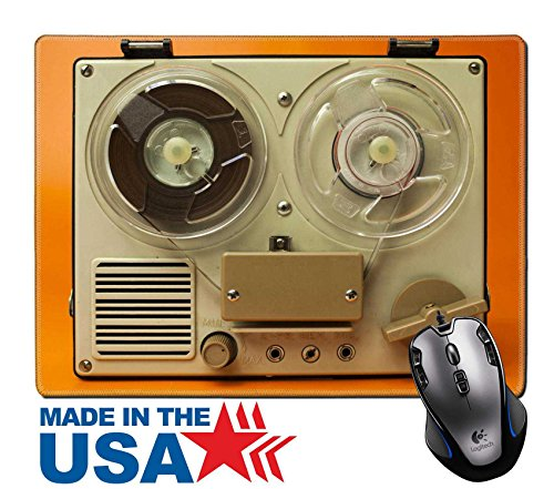 "MSD Natural Rubber Mouse Pad/Mat with Stitched Edges 9.8"" x 7.9"" a small vintage reel to reel tape recorder IMAGE 21317358"