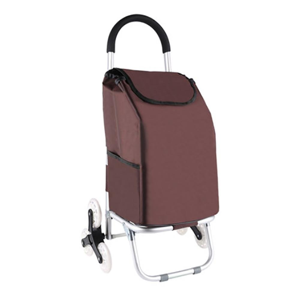 G&M Foldable Climb the Stairs Shopping Cart with 3 Wheel, Multifunction Aluminum Alloy Trolleys for Supermarket Shopping , brown by RulNet