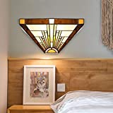 BONLICHT Classic Single Wall Lamp Antique Tiffany-Style 1 Light Mission Wall Sconce with 12 Inch Stained Glass Shade,Retro Multicolored Hallway Flush Mount Wall Light Fixture UL Listed