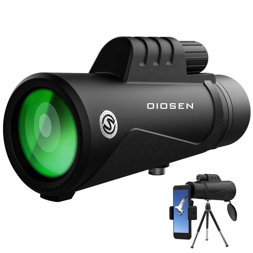 OIOSEN Monocular Telescope, Upgrade High Power 12x50 HD Dual Focus Scope with Smartphone Holder, Waterproof BAK4 Prism FMC with 23mm Large Eyepiece for Bird Watching, Hiking and Hunting by OIOSEN