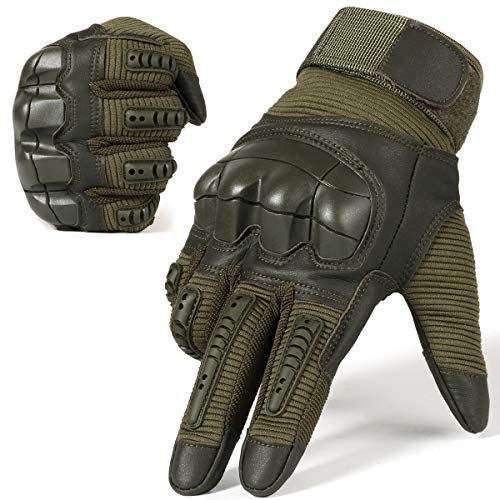 - JIUSY Army Military Tactical Touch Screen Rubber Hard Knuckle Full Finger Gloves for Combat Motorcycle Motorbike Hunting Hiking Airsoft Paintball Riding Size Green Medium