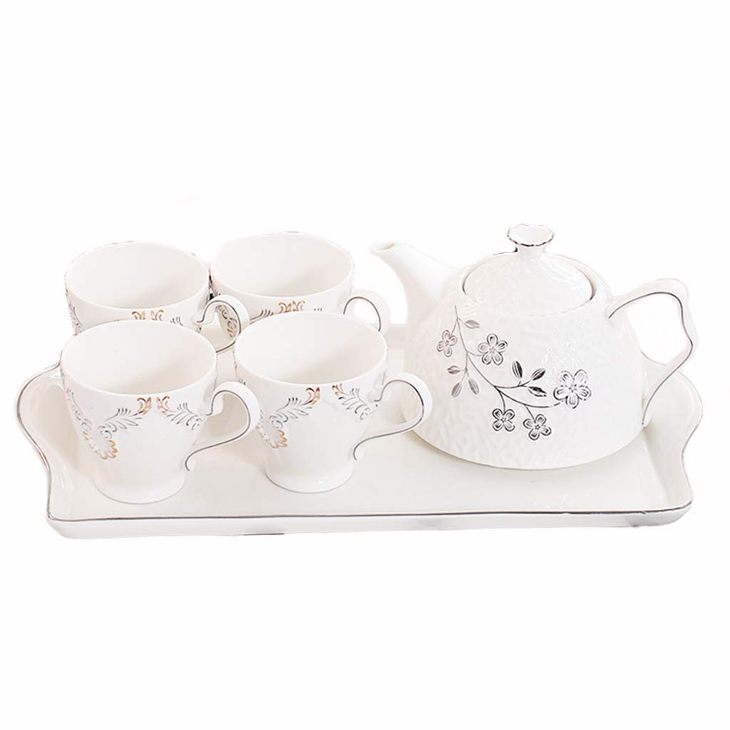 CSQコーヒーカップ コーヒーポット、全セット紅茶香茶ティーセット家庭用陶器茶セットオフィスティーセット容量:820ml アフタヌーンティー (色 : A) B07Q1FT3HG A