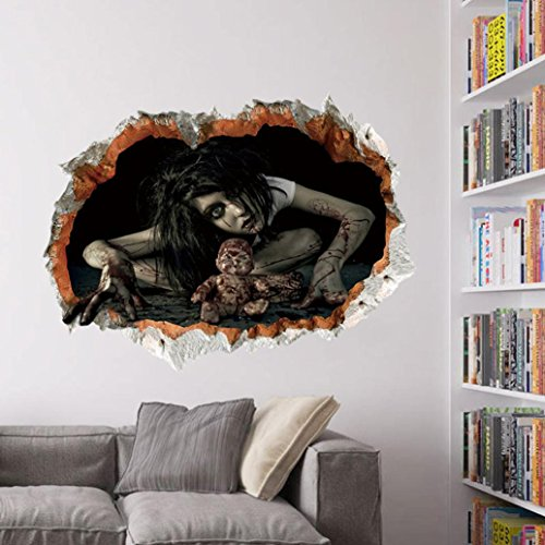 Halloween Wall Sticker, AMA(TM) Happy Halloween Household Room Terror Wall Sticker Mural Removable Decal Home Decor (C)