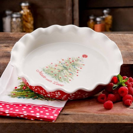 The Pioneer Woman Holiday Cheer 9-Inch Ceramic Ruffle-Top Pie Plate, Dishwasher/Oven Safe ()