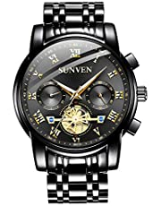 SUNVEN Men's Watches Waterproof Quartz - Business Wristwatch Gold Stainless Steel Sapphire Face Multi-Function Displays Luminous Hands 2019 Design