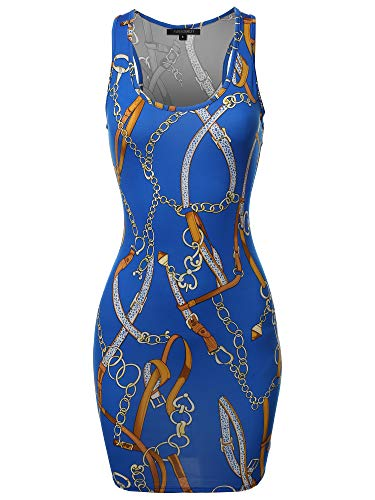 (Floral or Camouflage Printed Sexy Body-Con Racer-Back Mini Dress Royal Gold 2XL)