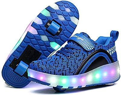 pit4tk LED Light Up Blink Double Wheel Roller Skate Shoes Fashion Sports Flashing Sneaker Boys Girls Kid