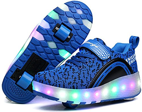 Unisex Boys Girls LED Lighting Single Wheel/Double Wheels Roller Skate Sneakers(Blue 2wheels 39/8 B(M) US Women / 6 D(M) US Men)