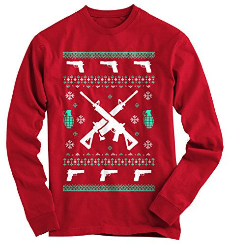 Gnarly Tees Men's Assault Rifle Ugly Christmas Sweater XL Red