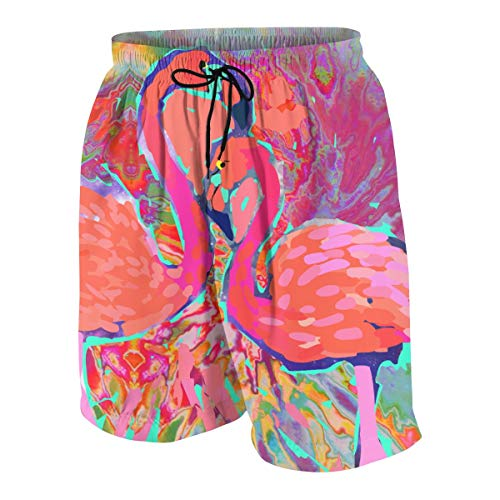 Zhangyi Boys Biscayne Bay Flamingos Quick Dry Swim Trunks