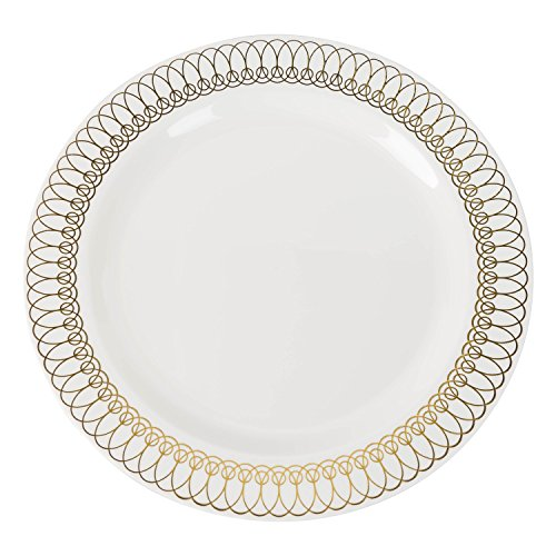 Exquisite 40-Pack Gold Ovals Design Plastic Plates (20-dinner 20-dessert) Set Premium Heavyweight Plastic Wedding Plates