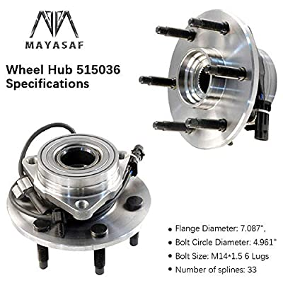 MAYASAF 515036 Front Wheel Hub and Bearing Assembly 6 Lugs w/ABS for AWD 4x4 Truck Fit 2002-06 Chevrolet Silverado/Suburban/Avalanche 1500 Tahoe GMC Sierra Savana 02-06 Cadillac Escalade: Automotive