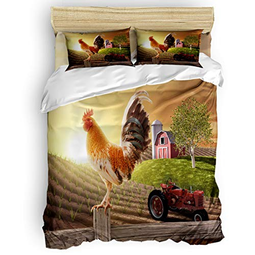 Quilt Twin Rooster - Vandarllin Twin Size Bedding Sets - Farmhouse Roosters Tractor Duvet Quilt Cover Set with 2 Decorative Pillowcases for Childrens/Kids/Teens/Adults, 3 Pieces, 50% Cotton+50% Polyester, Western Snecery