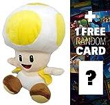 "Yellow Toad: ~6"" Super Mario Bros Mini-Plush + 1 FREE Official Super Mario Bros Fun Card Bundle"