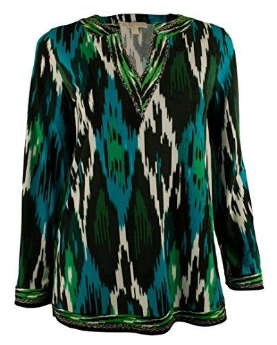 Michael Kors Women's Ikat-Print Split-Neck Tunic Top-TB-M