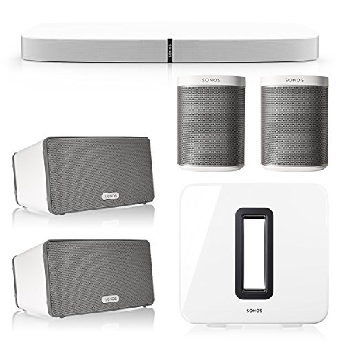 Sonos 5.1 Home Theater System with PLAYBASE, PLAY:1, PLAY:3, and SUB Wireless Subwoofer (White)