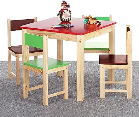 Interougehome Juego de Mesa y 4 sillas de Madera para niños, Muebles para la habitación de los niños, Colorido sillas y Mesa de Color Rojo: Amazon.es: Hogar