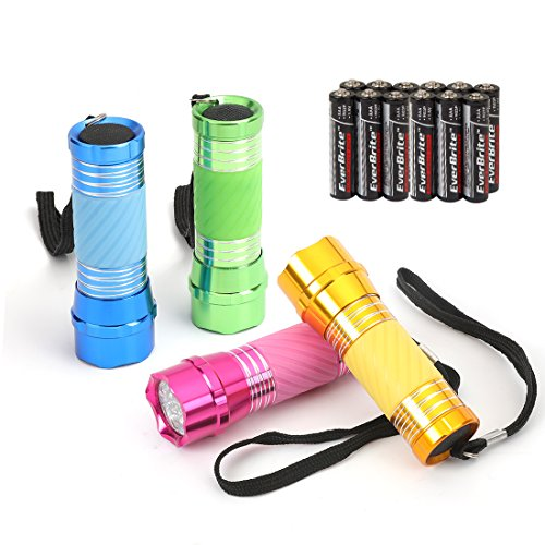EverBrite 4-Pack Mini LED Aluminum Flashlight Party Favors Colors Assorted with Handle Glow in Dark by EverBrite